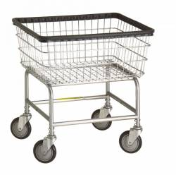 R&B Wire - R&B Wire #100E Standard Laundry Cart - Beige Base, Chrome Basket - Image 1