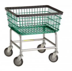 R&B Wire - R&B Wire #100E Standard Laundry Cart - Chrome Base, Green Basket - Image 1