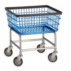 R&B Wire - R&B Wire #100E Standard Laundry Cart Chrome Base, Blue Basket - CartsPros - Image 1