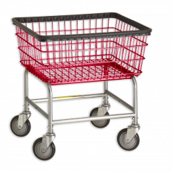 R&B Wire - R&B Wire #100E Standard Laundry Cart - Chrome Base, Red Basket - Image 1