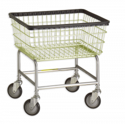 R&B Wire - R&B Wire #100E Standard Laundry Cart - Chrome Base, Almond Basket - Image 1