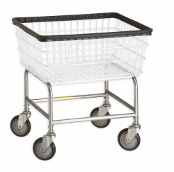 R&B Wire - R&B Wire #100E Standard Laundry Cart - Chrome Base, White Basket - Image 1
